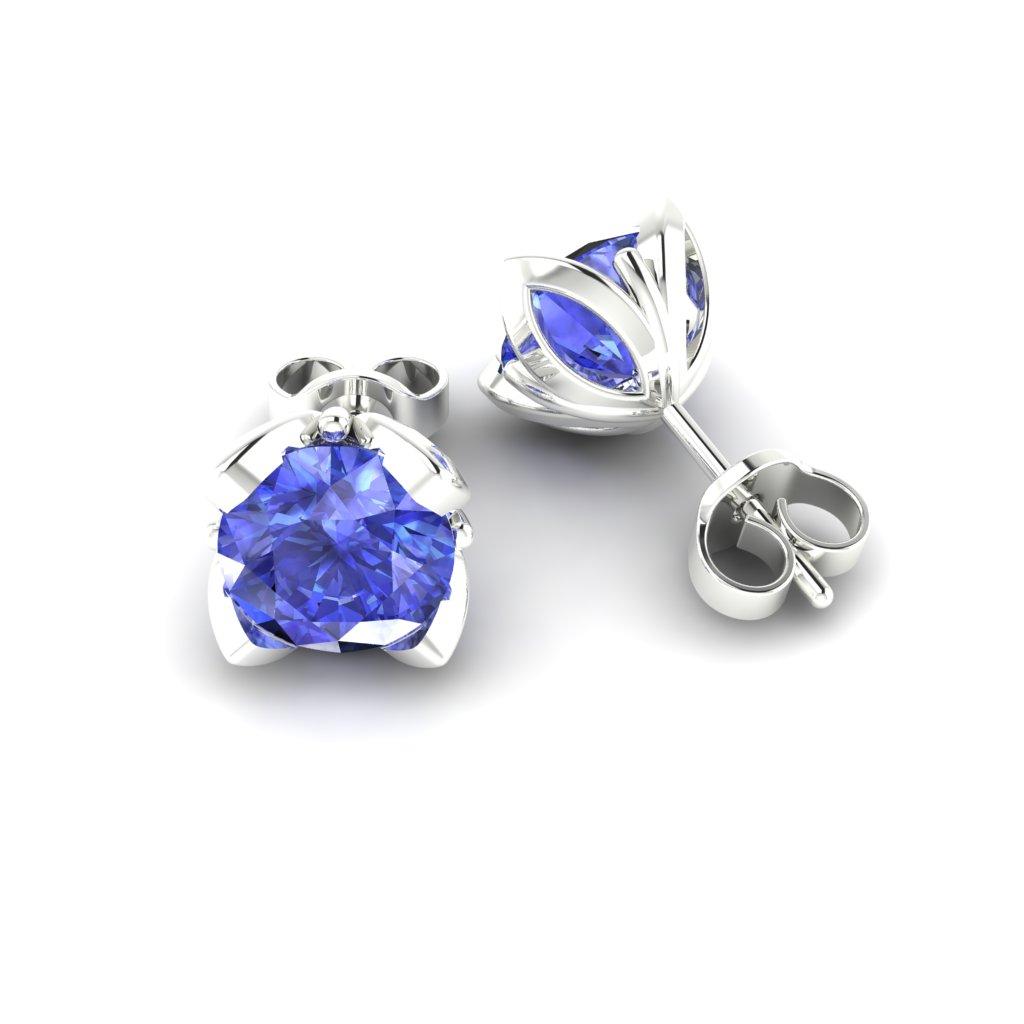Blue Sapphire White Gold Tulip Stud Earrings_image1