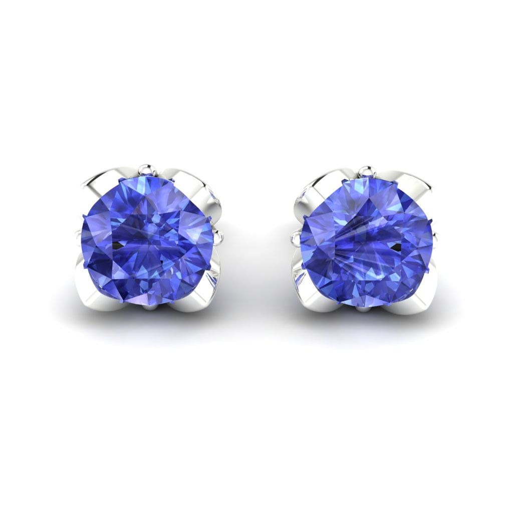 Blue Sapphire White Gold Tulip Stud Earrings_image2