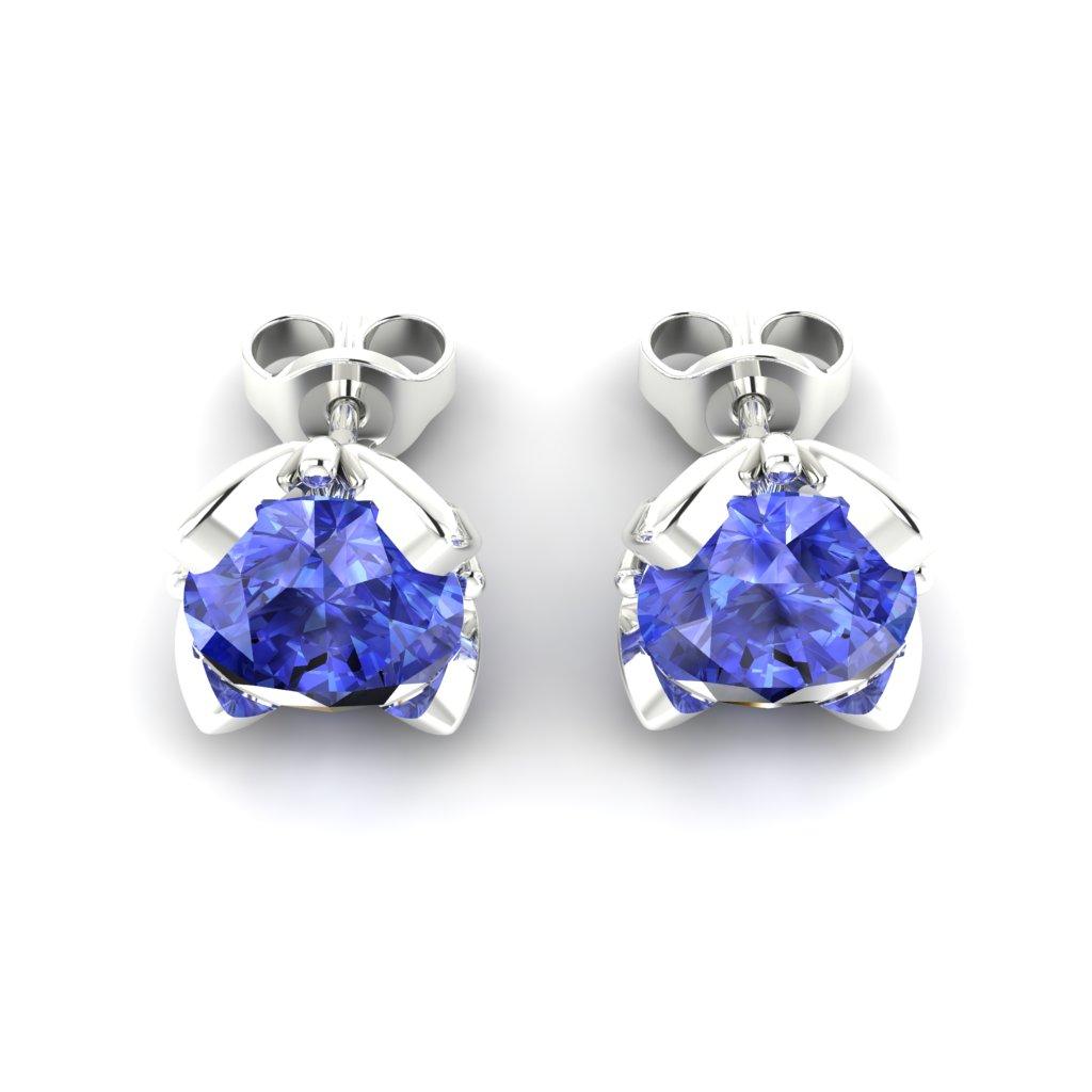 Blue Sapphire White Gold Tulip Stud Earrings_image3