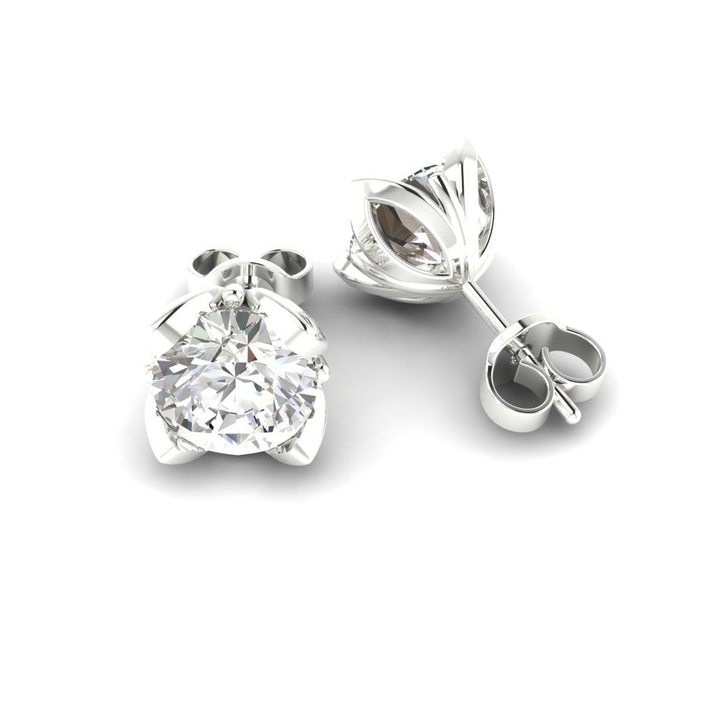 White Topaz White Gold Tulip Stud Earrings_image1