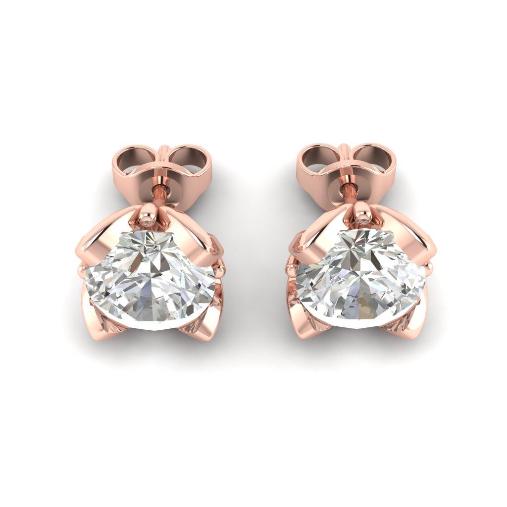 White Topaz Rose Gold Tulip Stud Earrings_image3
