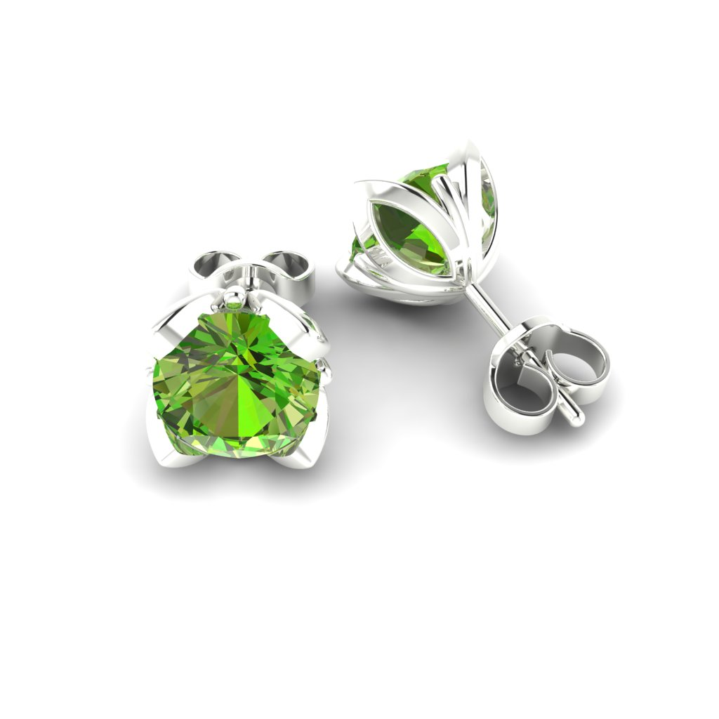 Peridot Sterling Silver Tulip Stud Earrings_image1