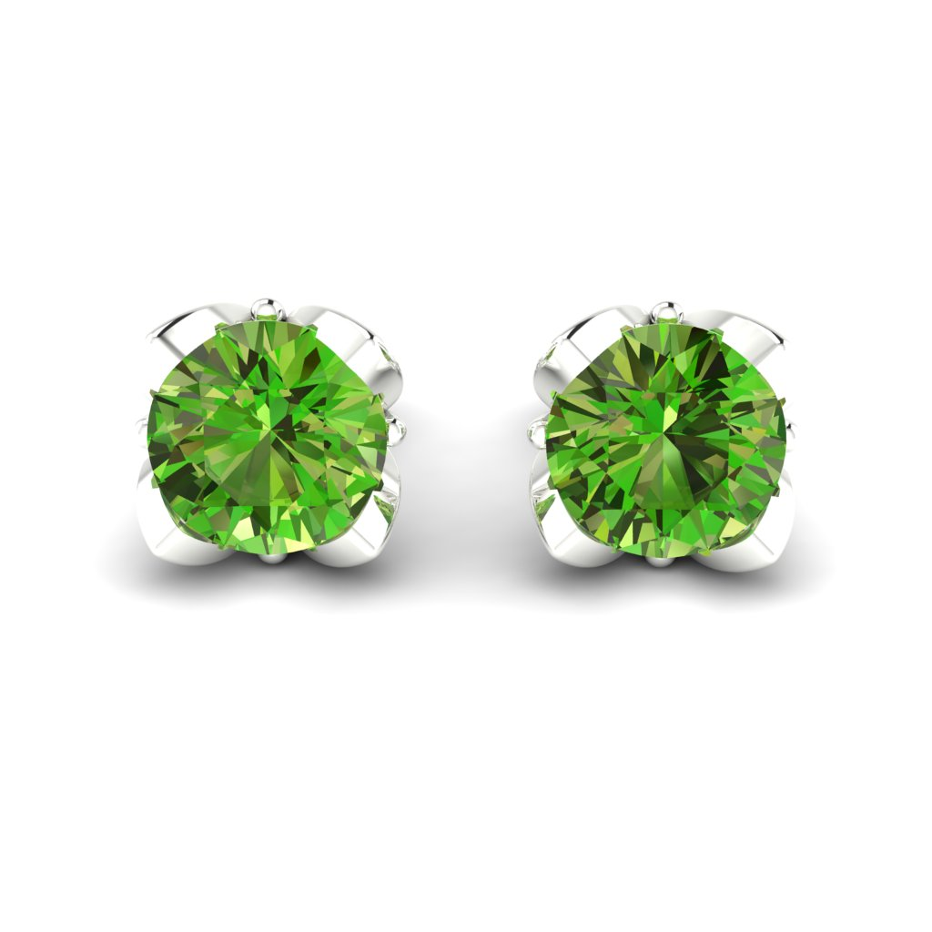 Peridot Sterling Silver Tulip Stud Earrings_image2