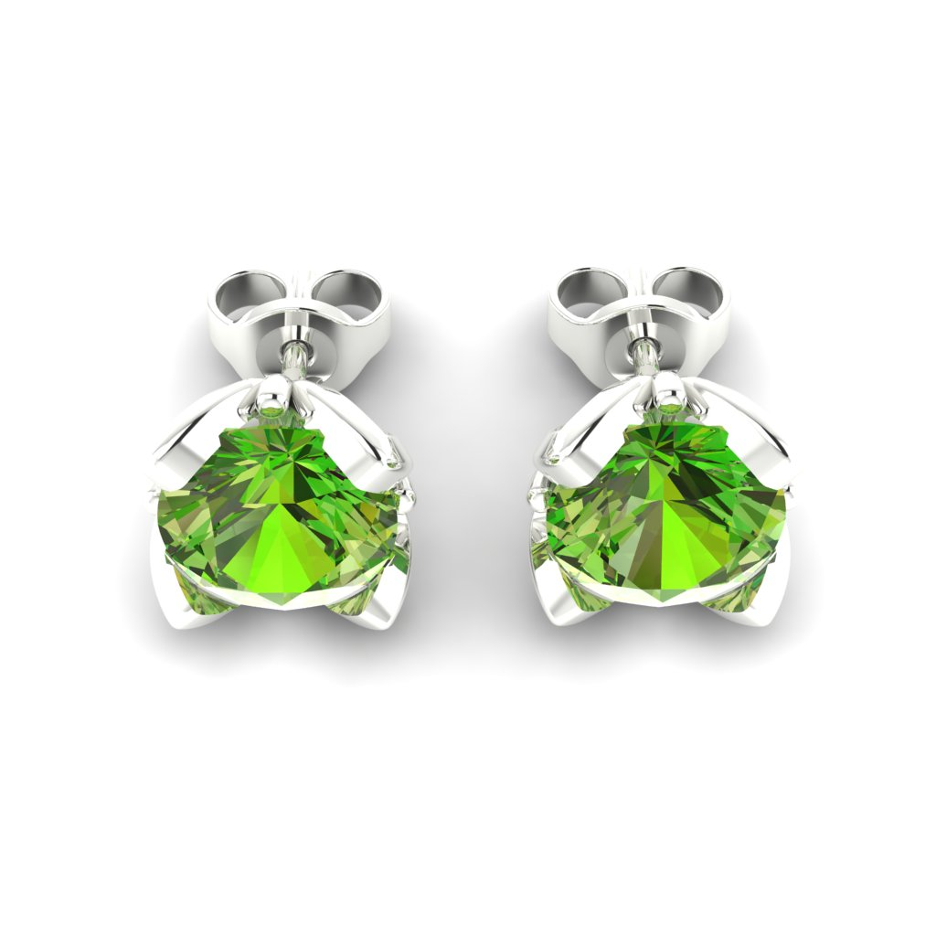 Peridot Sterling Silver Tulip Stud Earrings_image3