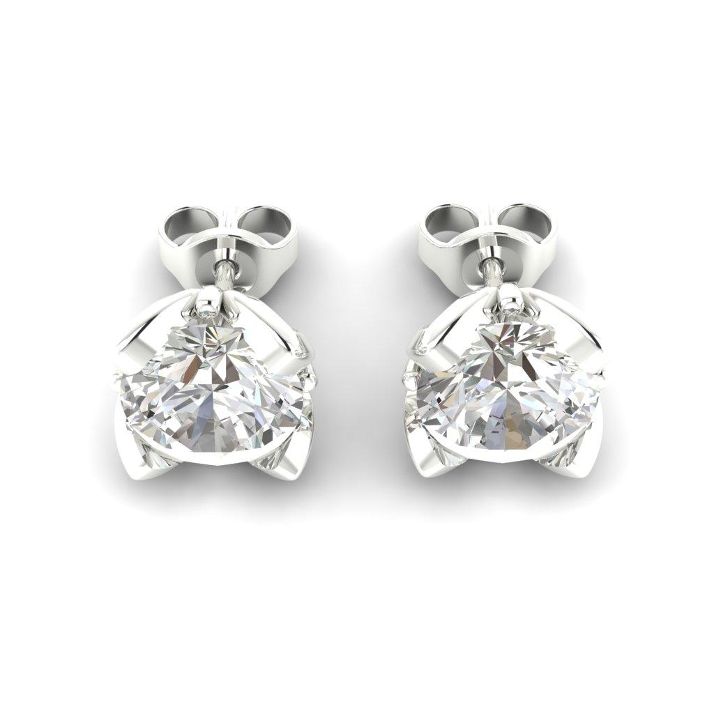 White Sapphire Sterling Silver Tulip Stud Earrings_image3