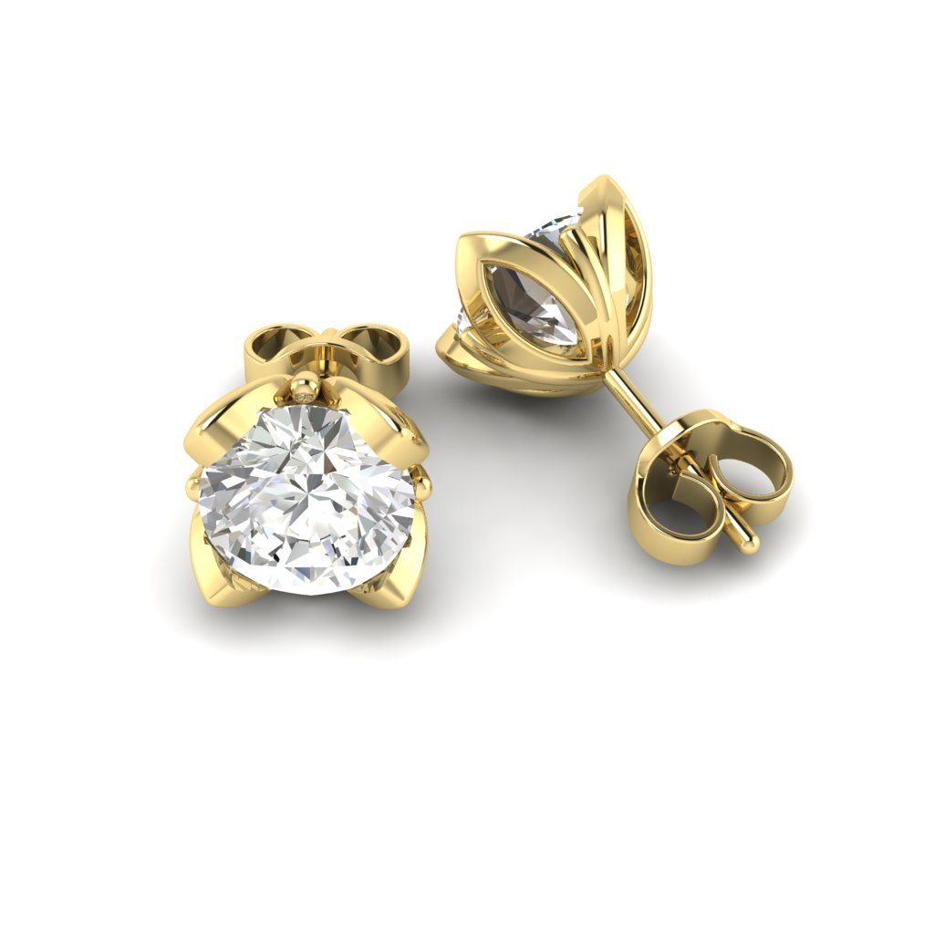 White Sapphire Yellow Gold Tulip Stud Earrings_image1
