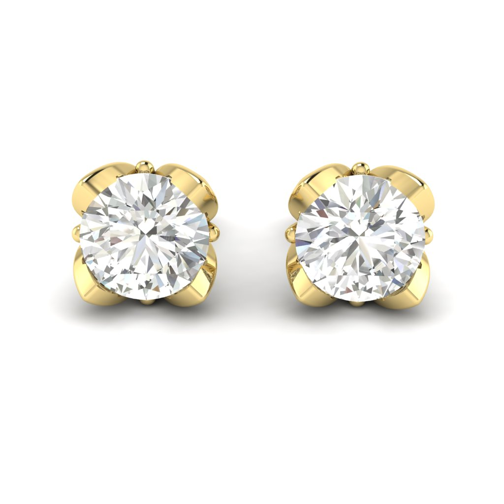 White Sapphire Yellow Gold Tulip Stud Earrings_image2