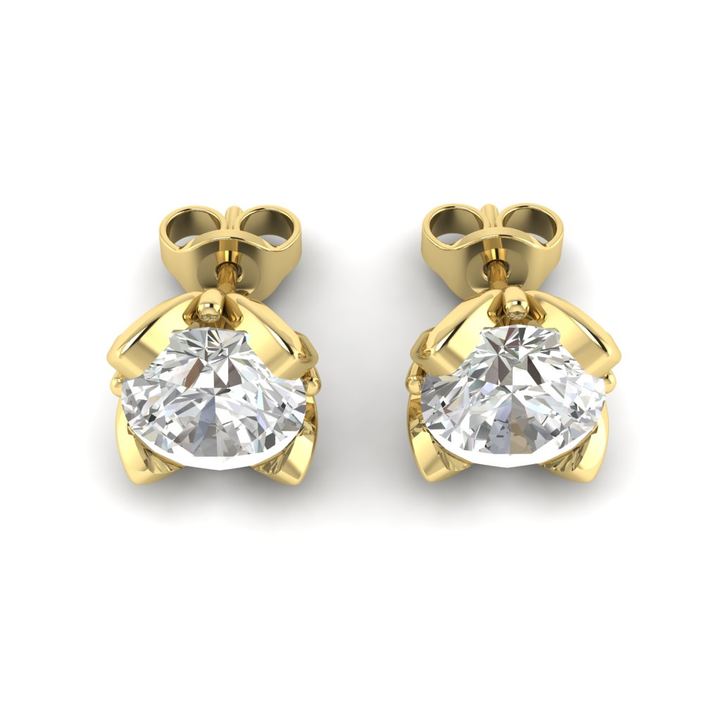 White Sapphire Yellow Gold Tulip Stud Earrings_image3