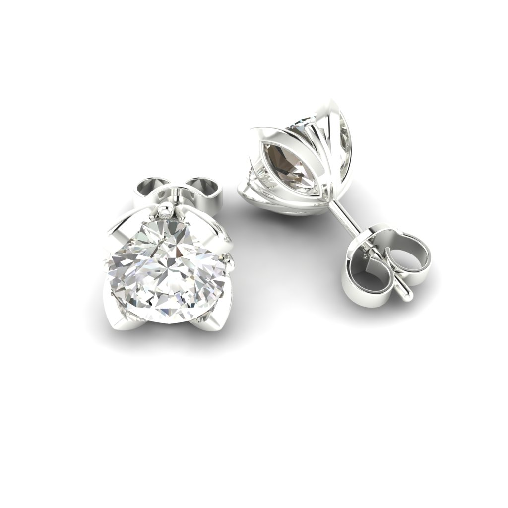 White Sapphire White Gold Tulip Stud Earrings_image1