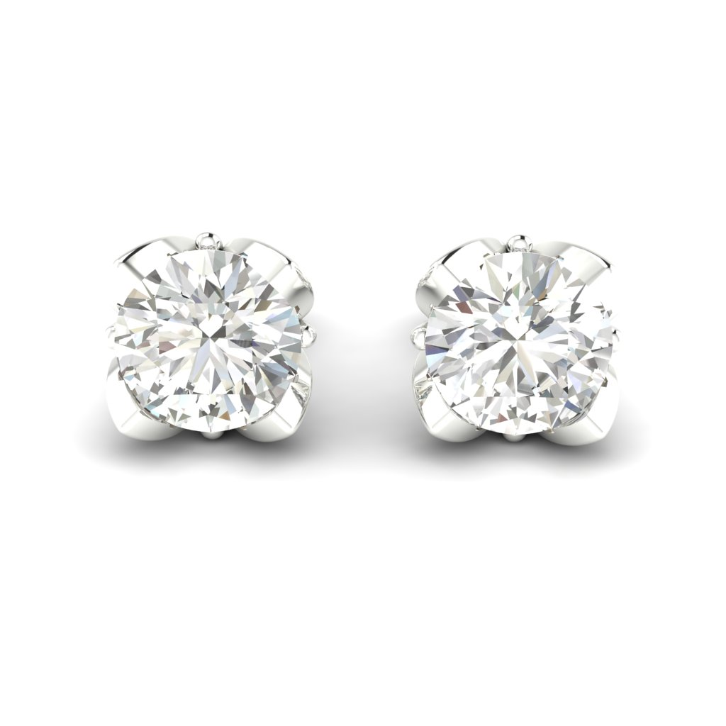White Sapphire White Gold Tulip Stud Earrings_image2