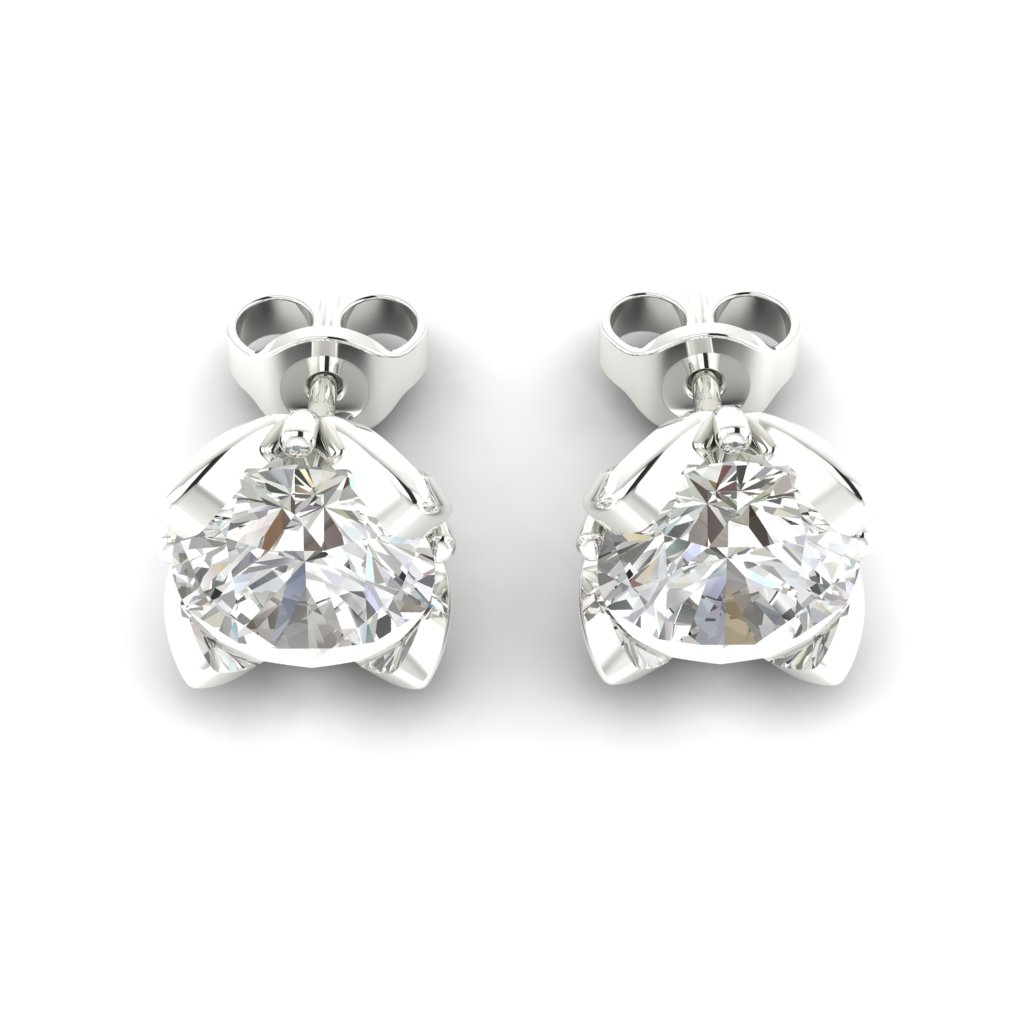 White Sapphire White Gold Tulip Stud Earrings_image3