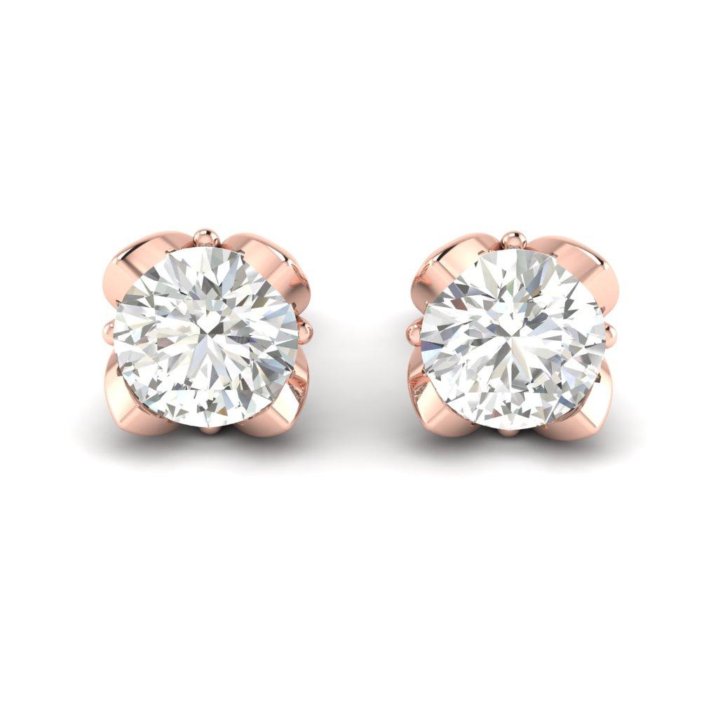 White Sapphire Rose Gold Tulip Stud Earrings_image2