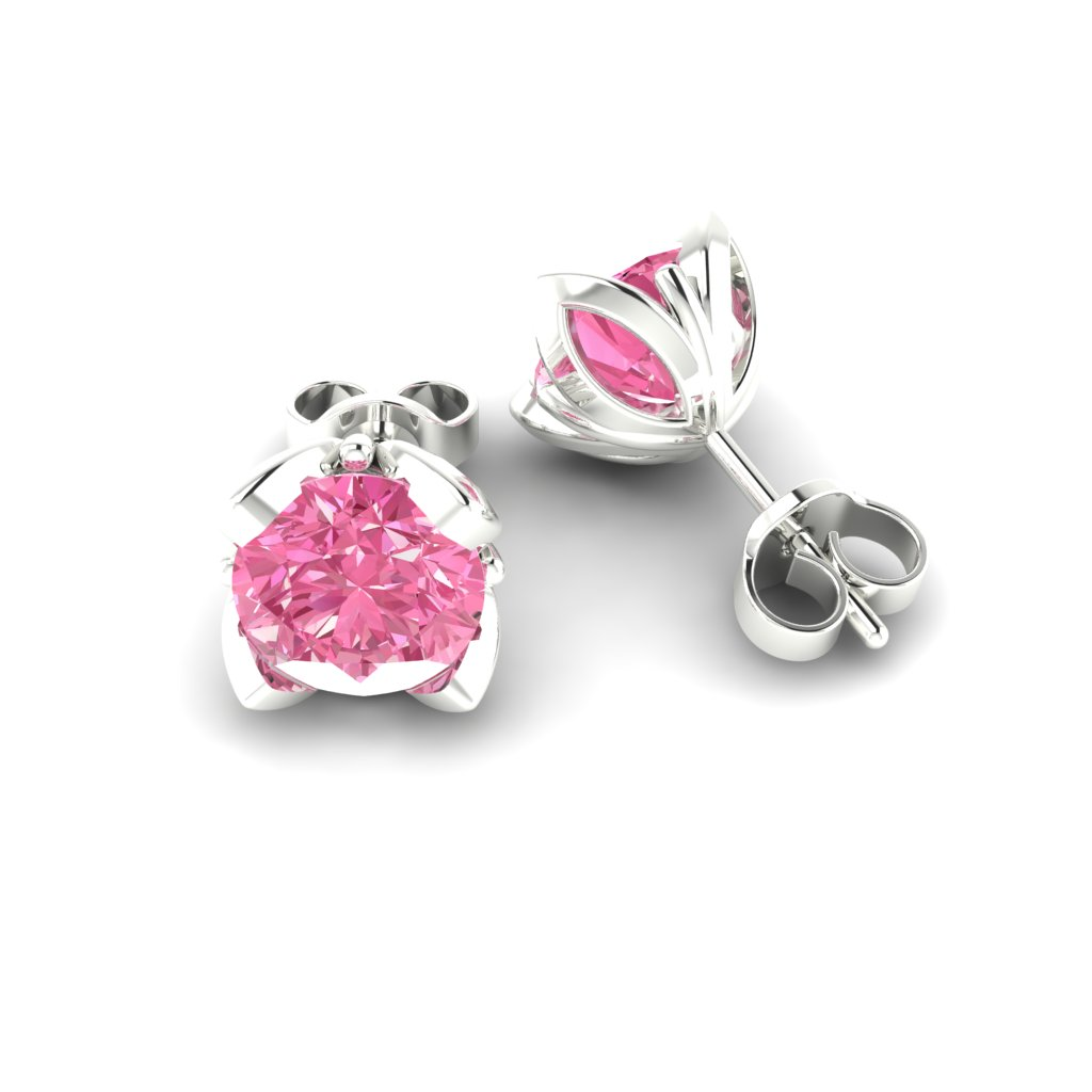 Pink Sapphire Sterling Silver Tulip Stud Earrings_image1