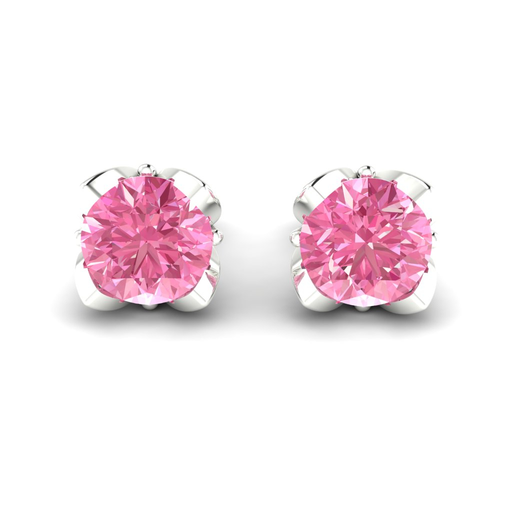 Pink Sapphire Sterling Silver Tulip Stud Earrings_image2