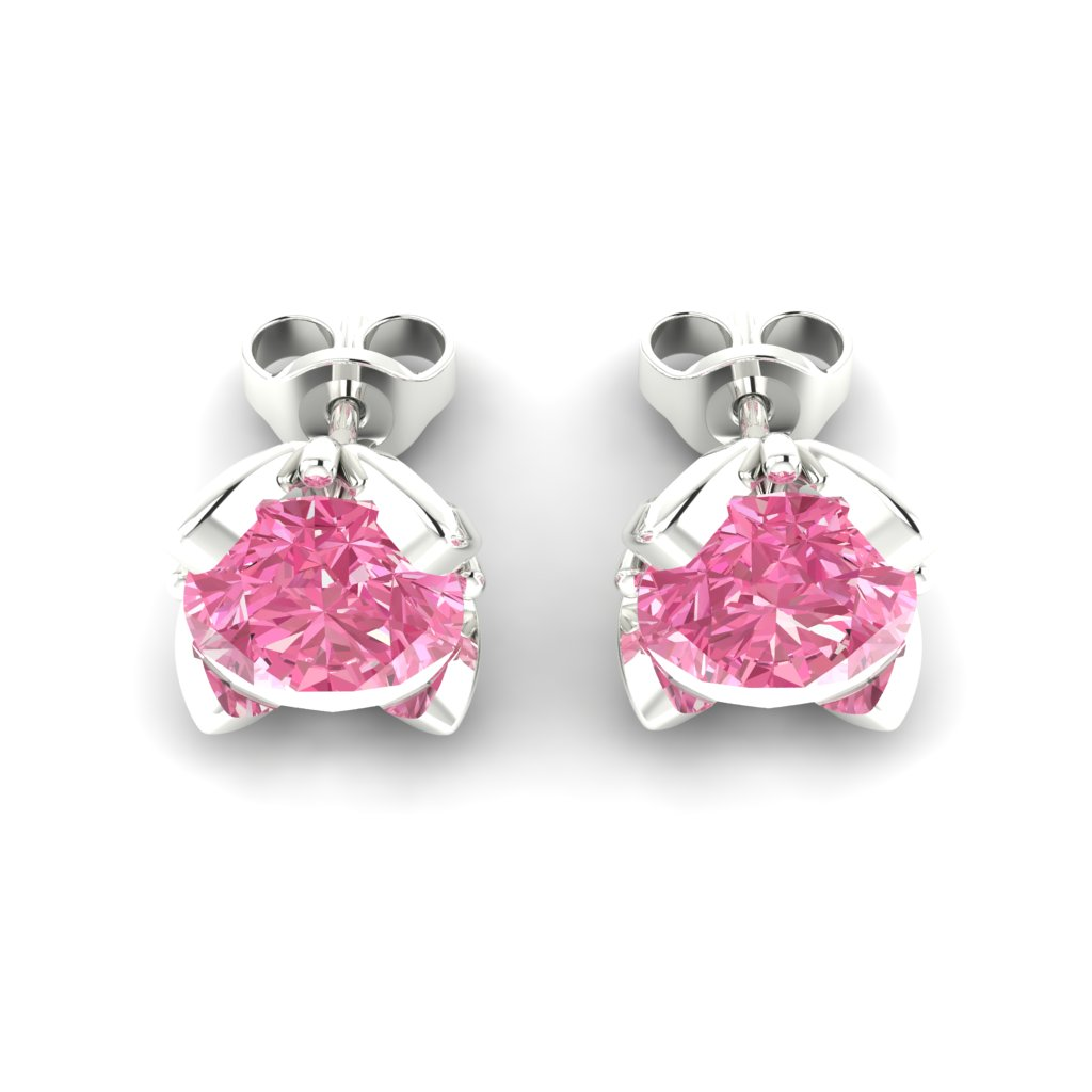 Pink Sapphire Sterling Silver Tulip Stud Earrings_image3