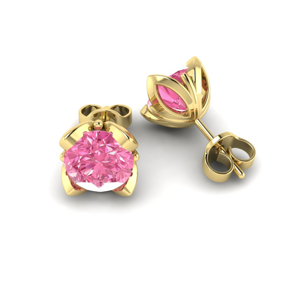 Pink Sapphire Yellow Gold Tulip Stud Earrings_image1