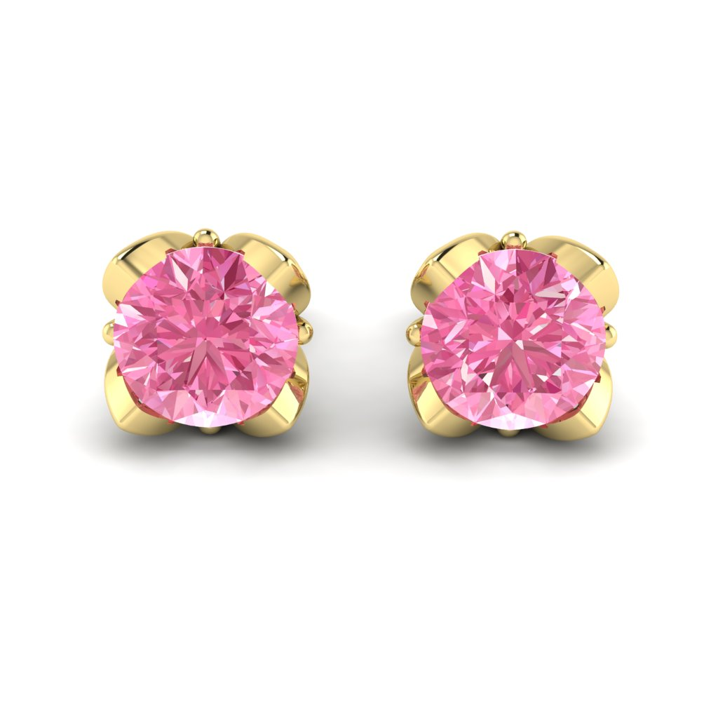 Pink Sapphire Yellow Gold Tulip Stud Earrings_image2