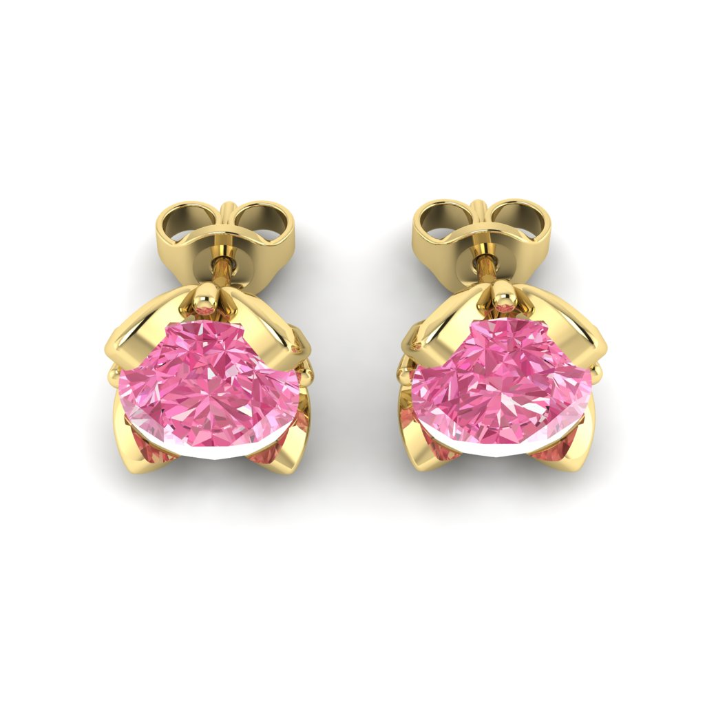 Pink Sapphire Yellow Gold Tulip Stud Earrings_image3