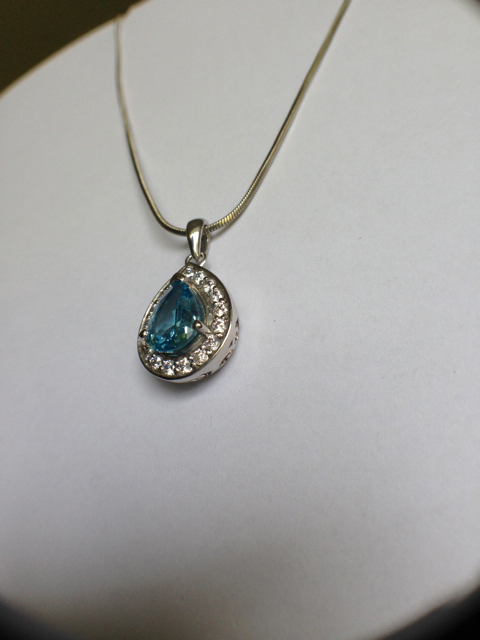Customisable Sterling Silver Tear Drop Pave Pendant_image7