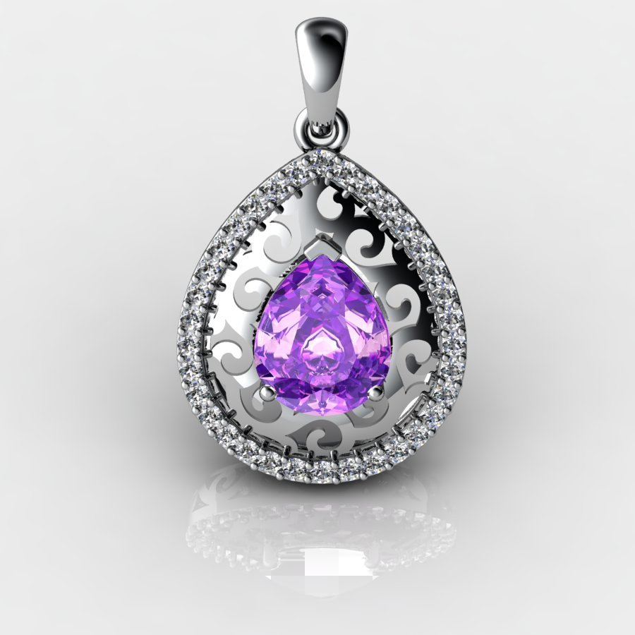 Customisable Sterling Silver Tear Drop Lace Pendant_image1