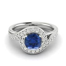 5.5mm Princess Cut Natural Blue Ceylon Sapphire on 18k White Gold
