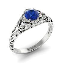 Blue Sapphire Halo Floral Halo Engagement Ring with Diamond Accents