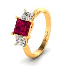 Ruby and Diamonds on 18k Yellow Gold Band