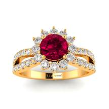 18k Yellow Gold Halo Engagement Ring with Genuine Ruby and Accent Diamonds