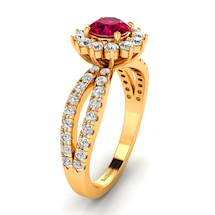Ruby Floral Halo Engagement Ring on a Yellow Gold Setting