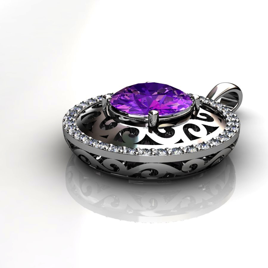 Moon Round Natural Amethyst Lace Pendant_image2