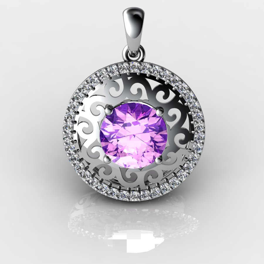 Moon Round Natural Amethyst Lace Pendant_image3