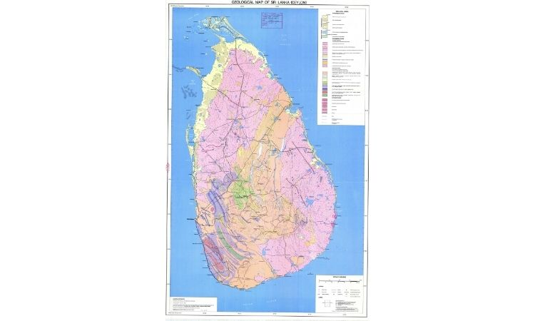 geological map of ceylon (sri lanka)