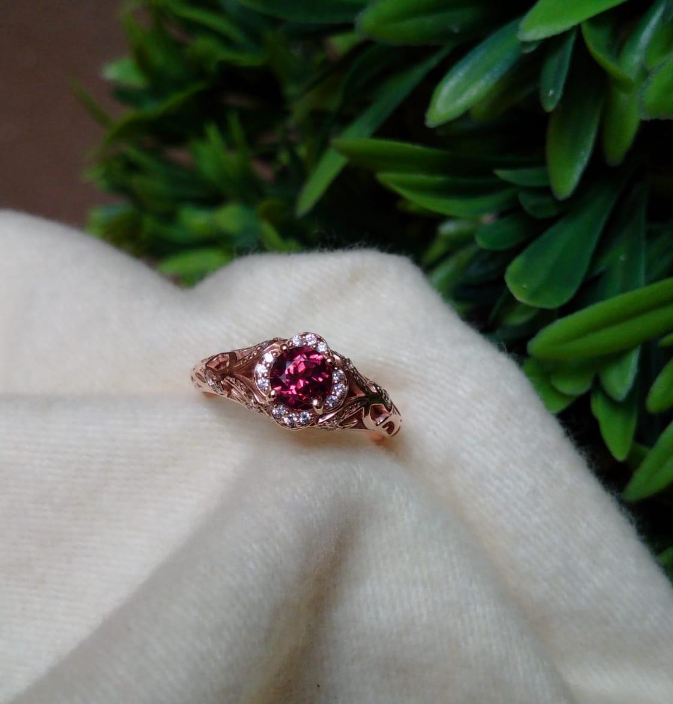 Garnet Rose Gold Vintage Engagement Ring