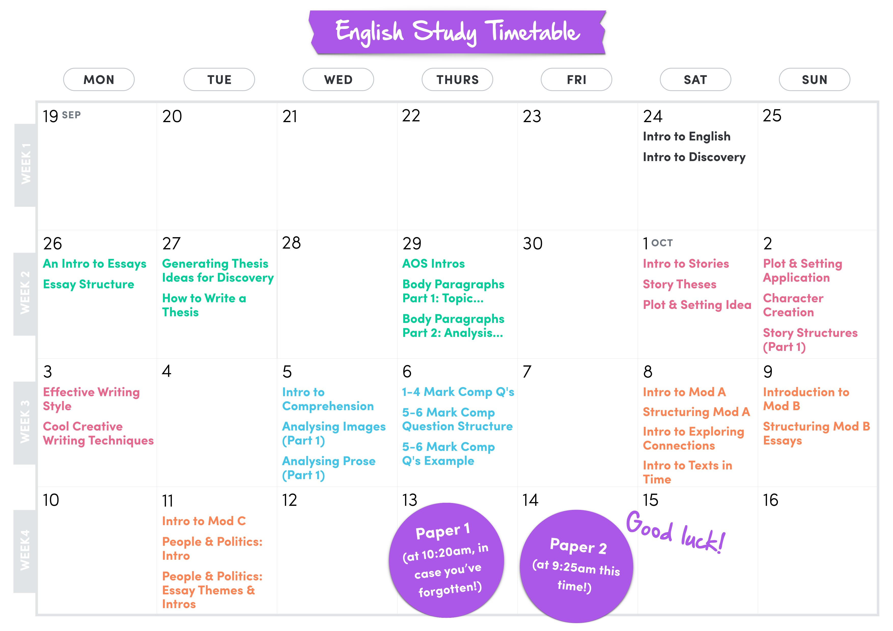 english advanced study timetable this timetable has been carefully thought out so you can balance your studying some time and fit your other subjects in there too so we really