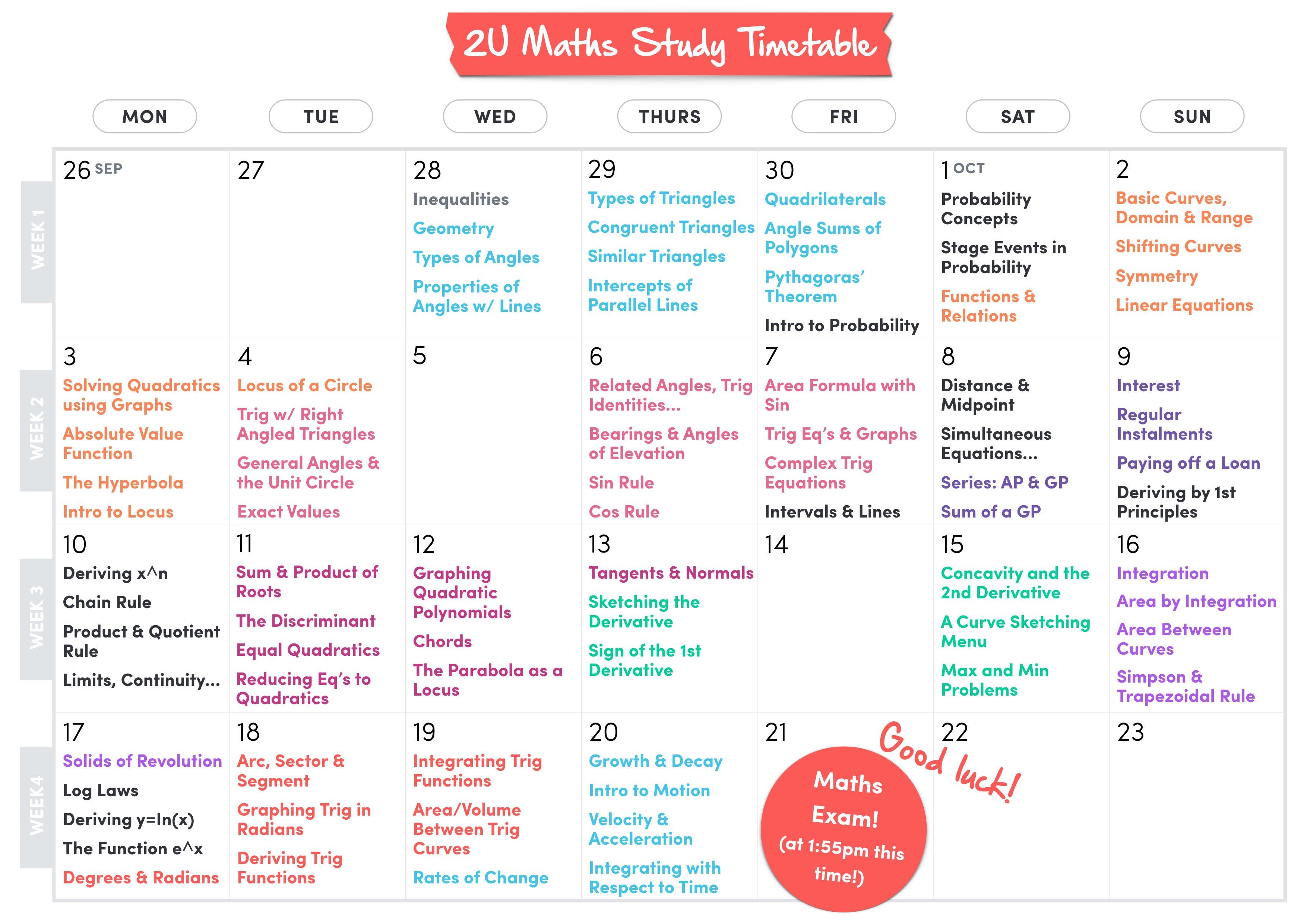 Study Timetable | 2u Maths Study Timetable 2016