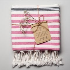 Whitehaven Turkish Towel Navy Pink