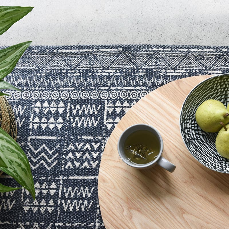 Tribal Rug Blue Cotton Collective Sol