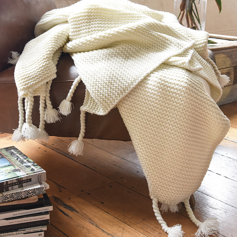 NEW Collective Sol Belle Chunky Knit Throw Blanket Rug Soft Tassels Gorgeous Cream Chunky Throw Blanket