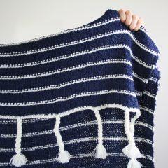 indigo striped throw