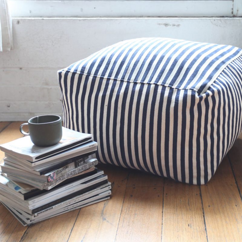 Hampton Ottoman Blue Stripe Collective Sol