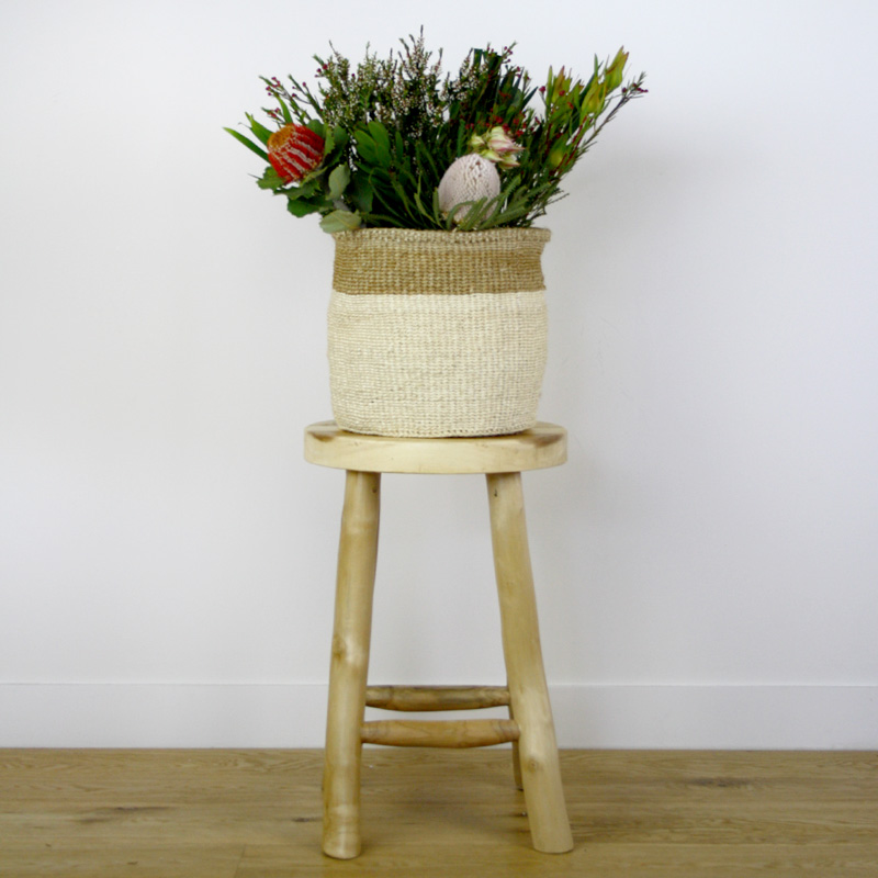 African Grass Basket Large with native flowers