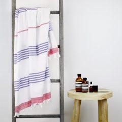Capri Turkish Towel Red Blue