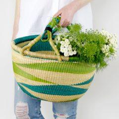 Bolga Basket Turquoise Green