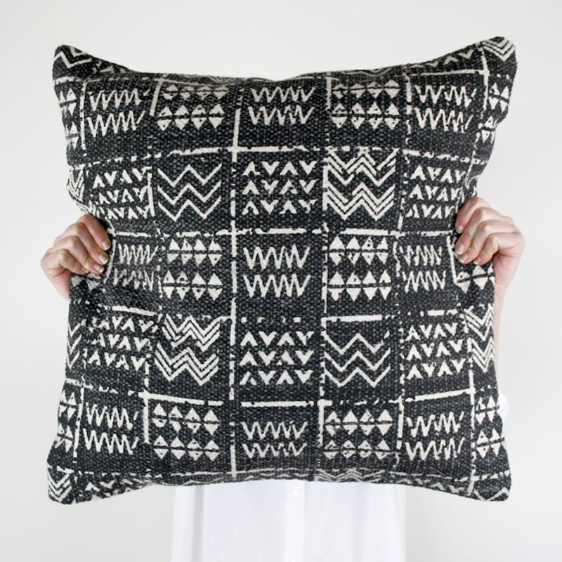 Tribal Cushion Black Charcoal