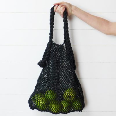 String Bag Fair Trade Market Charcoal