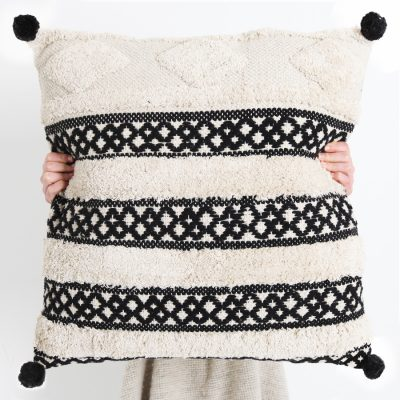Matisse Tufted Cushion Black Pom Poms Collective Sol