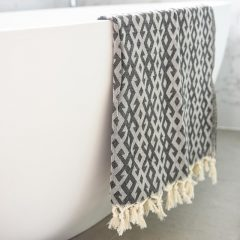 Mayan Turkish Towel Charcoal Collective Sol