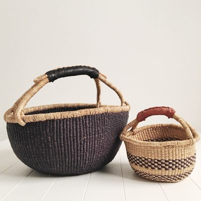 Mama & Mini Black Bolga Fairtrade Baskets