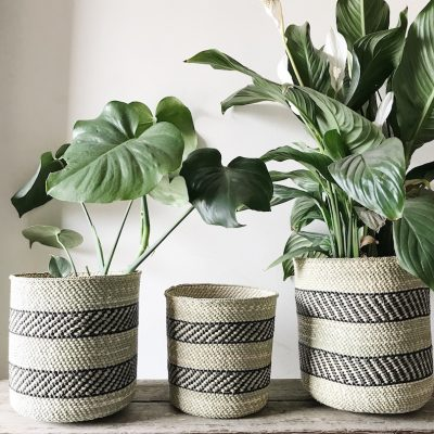 Black Natural Planter Baskets Fairtrade Collective Sol