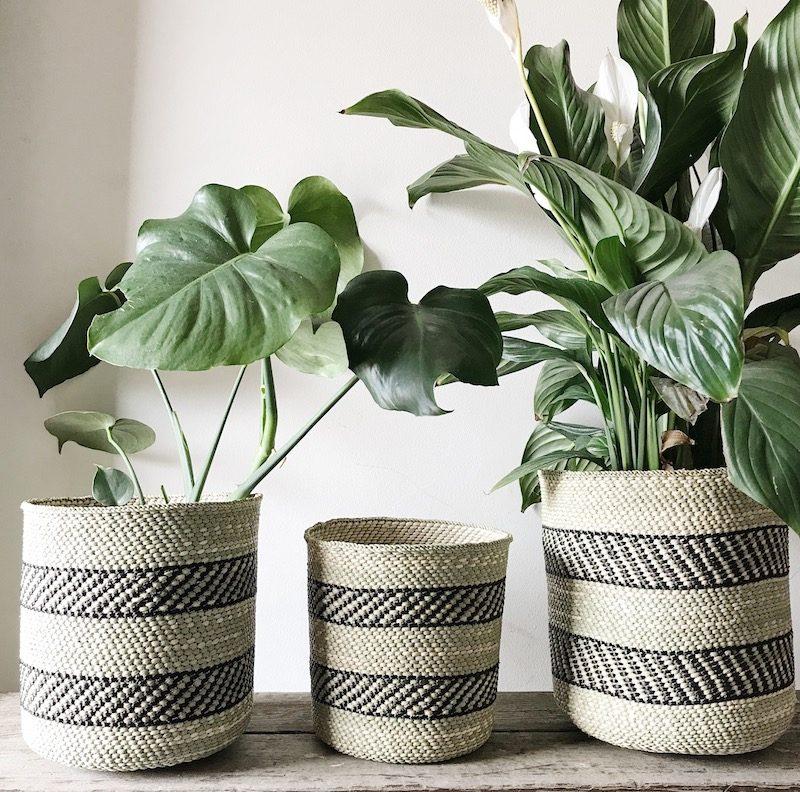 Black Natural Planter Baskets Fairtrade Collective Sol